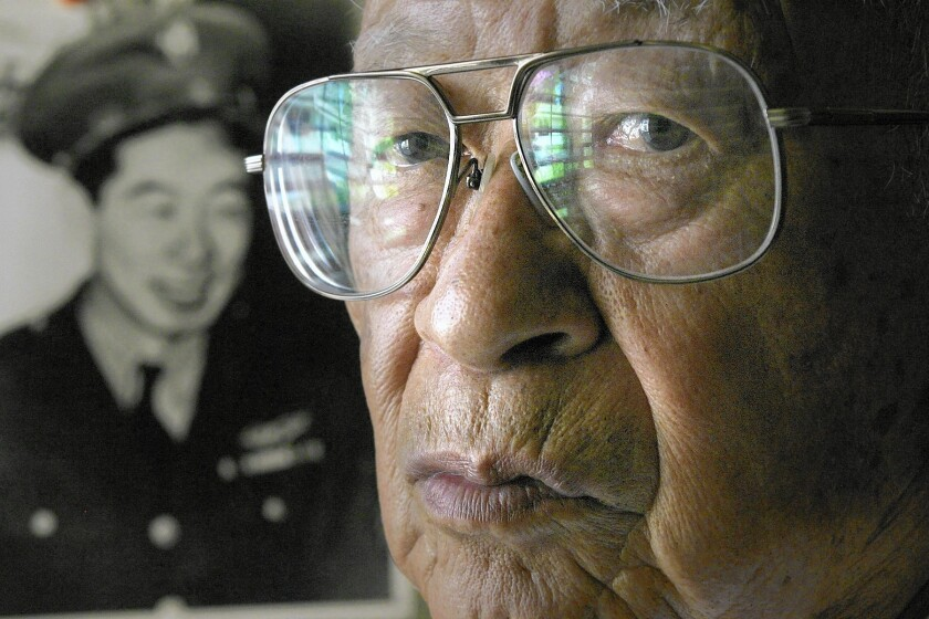 Ben Kuroki in a photo from his time in the service during World War ll, left, and in 2005 at the age of 88.