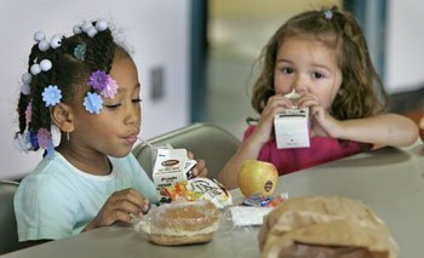 Dasia Bullock (left), 5, and Zoe Adams, 2, enjoyed their free lunches at the Martin Luther King Jr. Recreation Center.  (Howard Lipin / Union-Tribune)