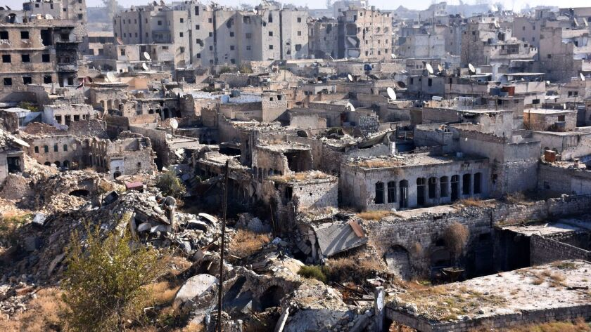 Areas like the Qastal al-Harami neighborhood of Aleppo, seen here on Dec. 9, 2016, have been ravaged by Syria's civil war.