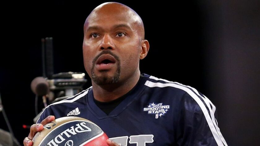Tim Hardaway prepares his shot during the shooting stars competition at the 2014 NBA All-Star weekend in New Orleans.