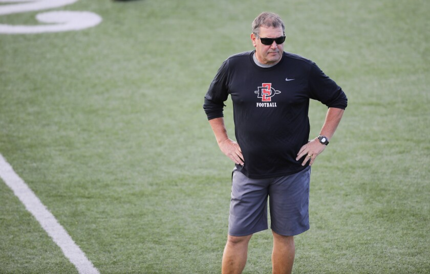 Brady Hoke's San Diego State football team is expected to play a revised, 10-game schedule during the 2020 season.