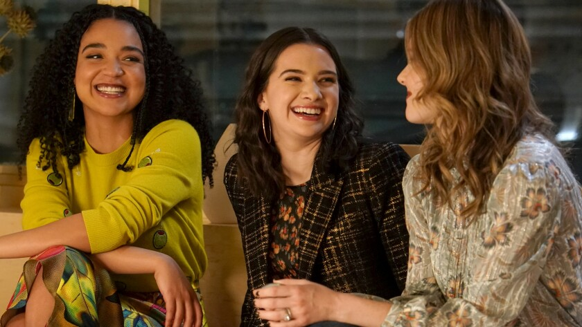 "Aisha Dee, left, Katie Stevens and Meghann Fahy in ""The Bold Type"" on Freeform."