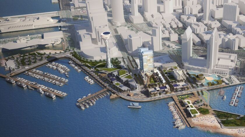 A 480-foot observation tower, aquarium, three hotels and new promenades and public spaces would highlight Seaport San Diego, a $1.3 billion replacement for Seaport Village.
