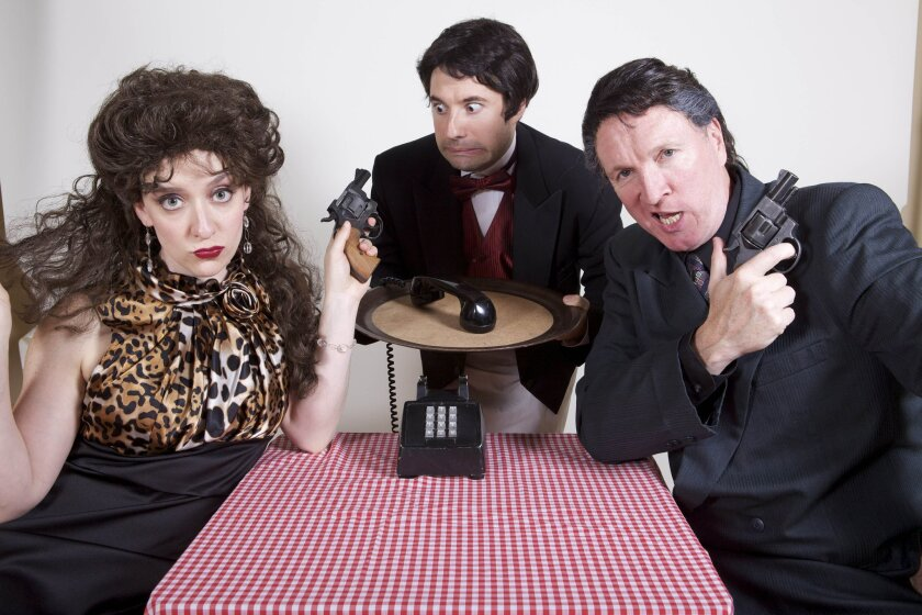 "Kristen Mengelkoch, Omri Schein and Kevin B. McGlynn in North Coast Repertory Theatre's ""Five Course Love."""