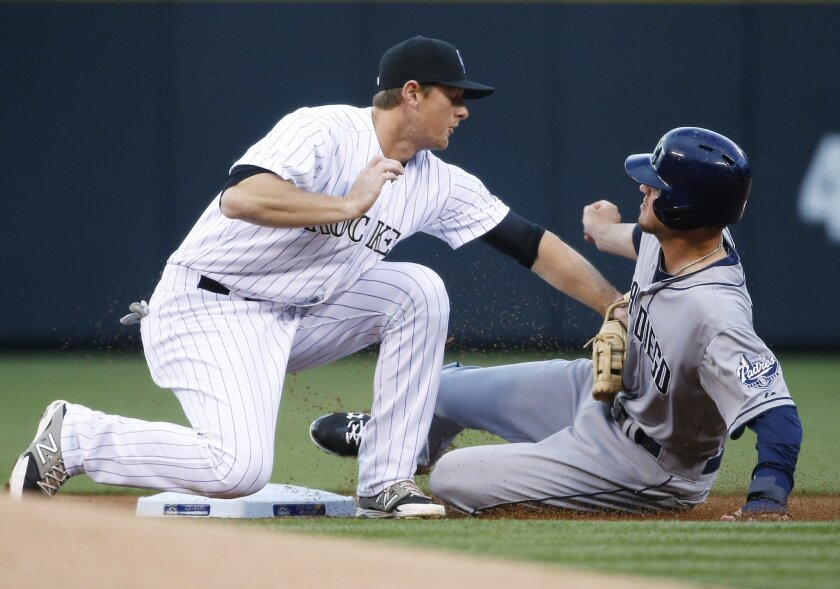 Colorado Rockies second baseman DJ LeMahieu tags out San Diego Padres' Wil Myers at second during the first inning of a baseball game Tuesday, April 21, 2015, in Denver. (AP Photo/Jack Dempsey)
