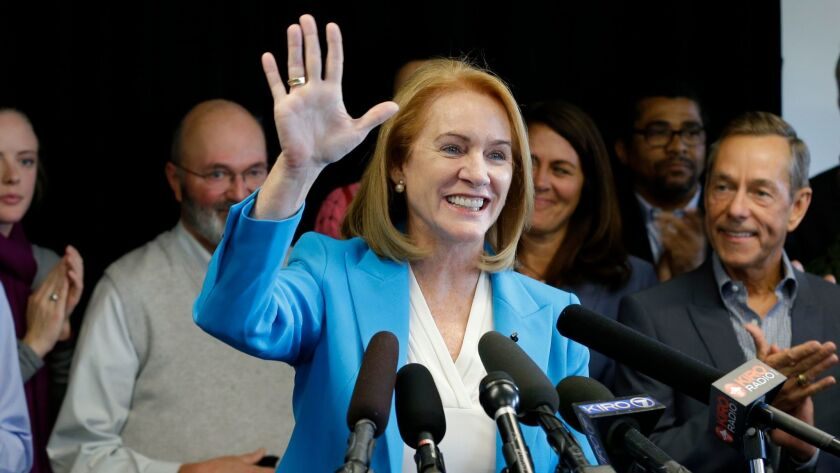 Jenny Durkan announces her candidacy for mayor of Seattle in May. Durkan is the front-runner in the race to succeed Ed Murray, according to recent polls.