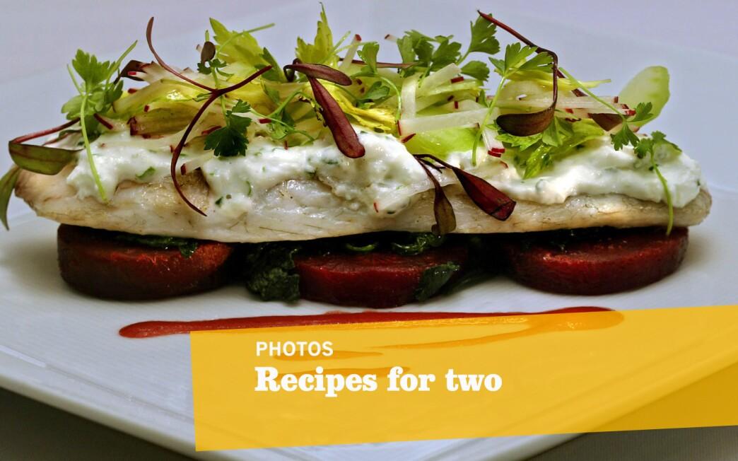 White-wine steamed sea bass with horseradish creme