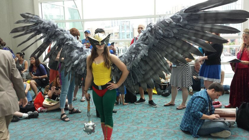 This costume at Comic-Con features a 14-foot wing span.