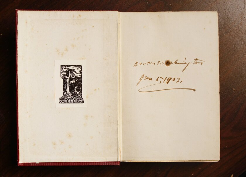 Book with the Marston plate and Booker T. Washington's signature