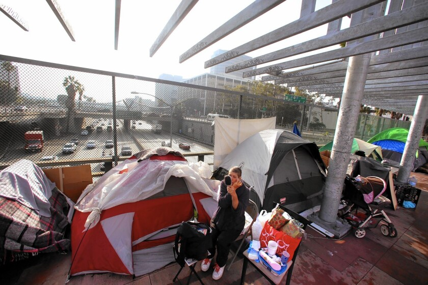 "Homeless camps near L.A. freeways, like the site Alena has staked above the 101 downtown, are on the rise. ""I'm new to this unexpected homelessness,"" says the 45-year-old, who was laid off from her job as an administrative assistant early this year."