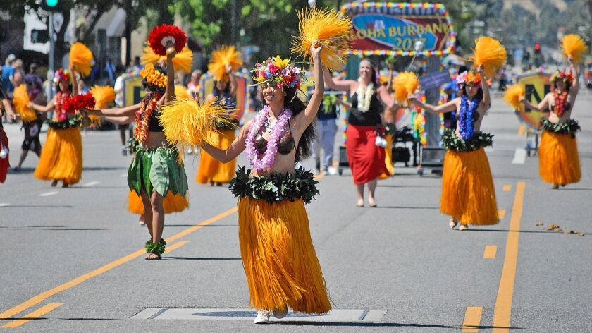"Dancers of the Te Aho Nui Dance Group perform during the ""Aloha Burbank"" themed, 2017 Burbank On Par"