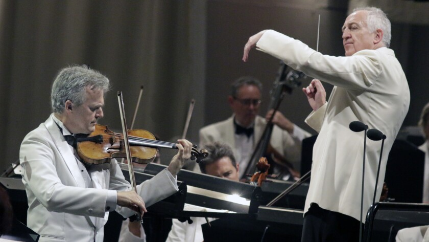 Bramwell Tovey conducted and L.A. Phil concertmaster Martin Chalifour soloed at the Bowl.