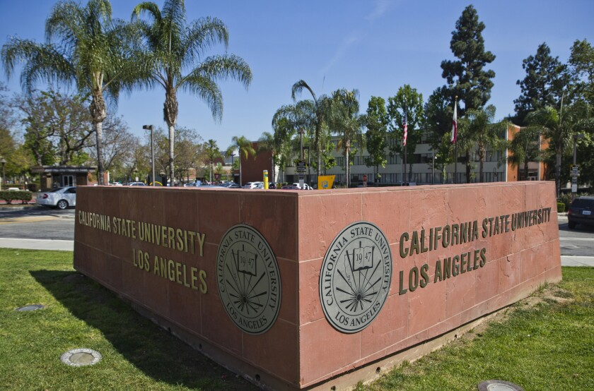 File - In this April 25, 2019, file photo, is the California State University, Los Angeles campus. T