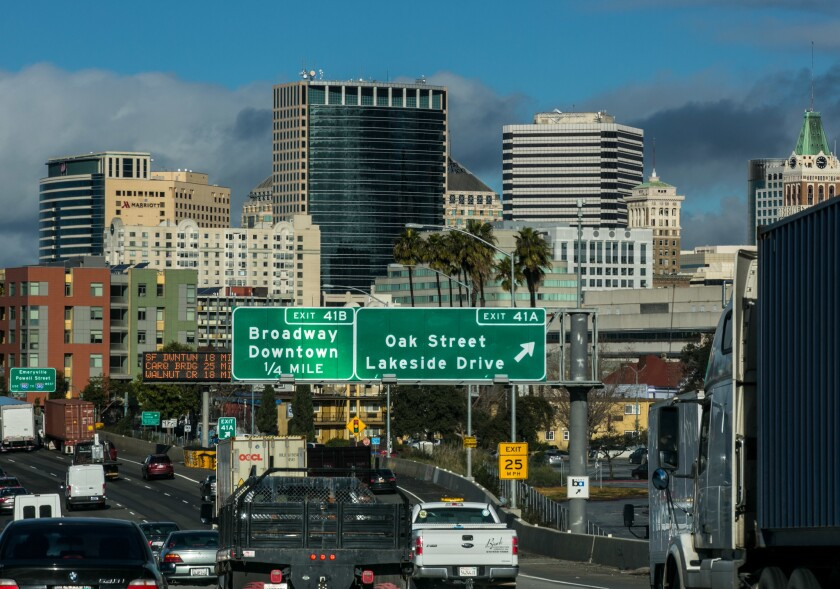 Downtown Oakland as seen from Interstate 880  in January 2017.