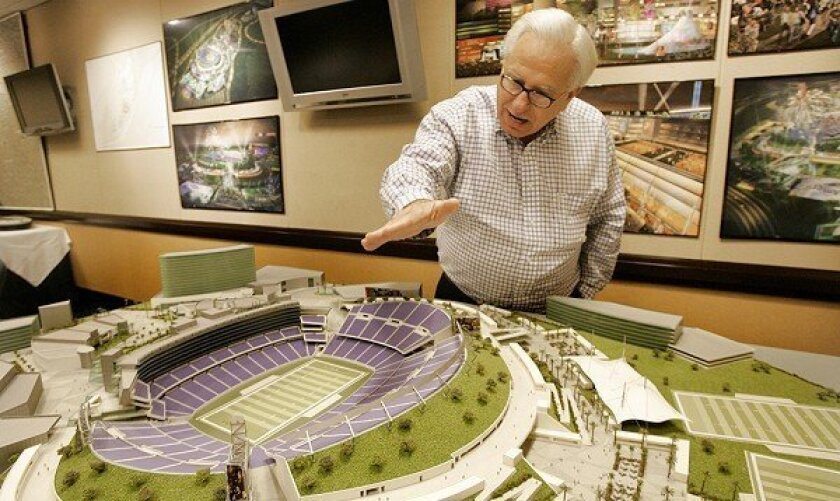 David Perez, mayor of the City of Industry, discussed a model of the  proposed NFL stadium that the city wants to build.