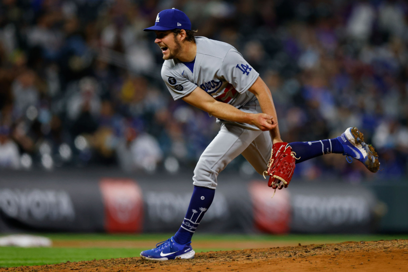 Dodgers starting pitcher Trevor Bauer delivers during an 11-6 win over the Colorado Rockies on Friday.