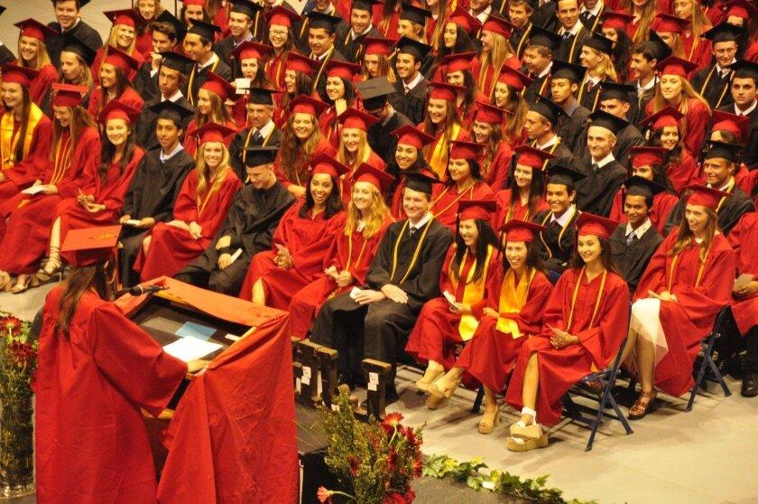 Commencement Speaker Marina Movellan amuses her audience. (La Jolla High School's Class of 2016 graduation ceremony, June 21 at UC San Diego's RIMAC Arena)