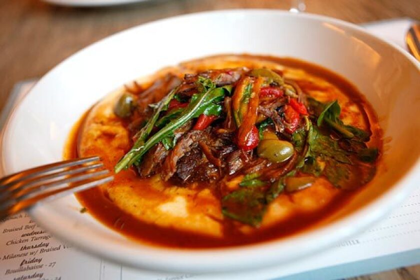 Braised lamb shoulder sofregit at Delphine restaurant in the W Hotel Hollywood.