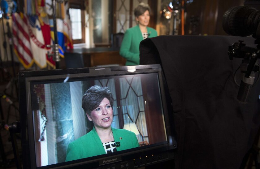 Ready for her close-up: Sen. Joni Ernst, R-Iowa, rehearses her response to President Obama's State of the Union speech Tuesday.