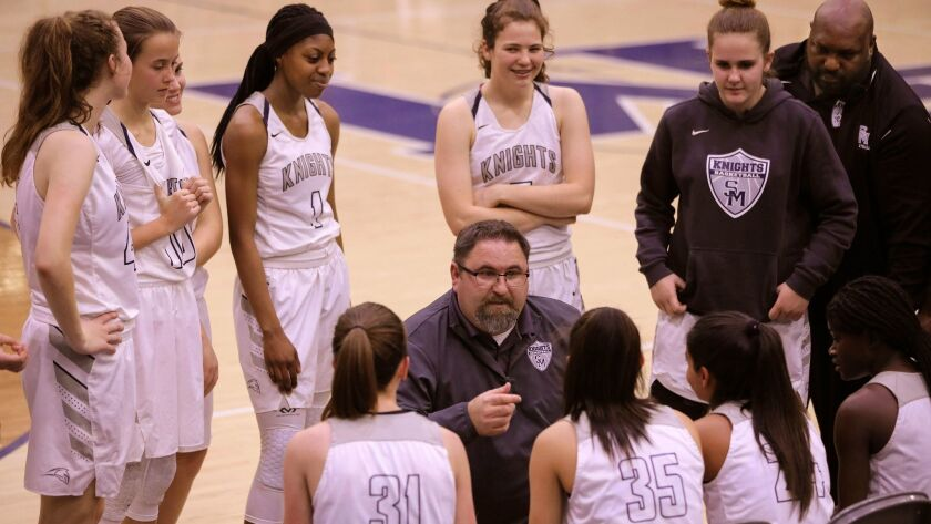 San Marcos coach Roger DiCarlo speaks to his team during a timeout.