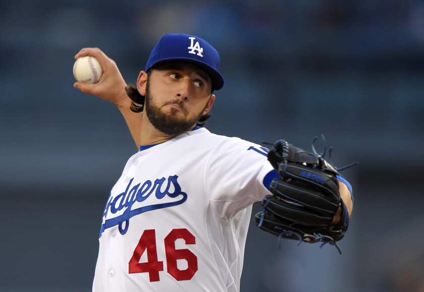 Dodgers starter Mike Bolsinger gave up no runs and one hit with eight strikeouts and no walks in eight innings against San Diego on Saturday night.