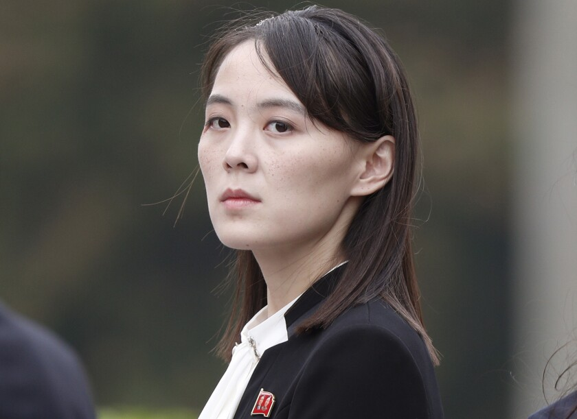 FILE - In this March 2, 2019, file photo, Kim Yo Jong, sister of North Korea's leader Kim Jong Un attends a wreath-laying ceremony at Ho Chi Minh Mausoleum in Hanoi, Vietnam. Kim warned Sunday, Aug, 1, 2021, that next month's annual military drills between South Korean and U.S. troops will undermine prospects for better ties between the Koreas, just days after the rivals reopened their long-dormant communication channels. (Jorge Silva/Pool Photo via AP, File)