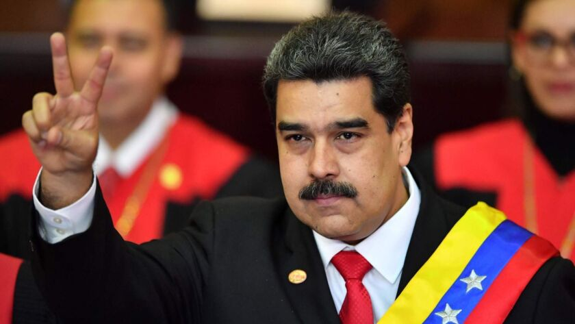 Nicolas Maduro  after being sworn in for his second term as  president of Venezuela on Jan. 10, 2019.