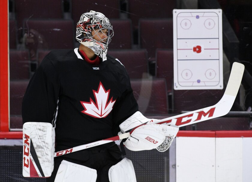 Team Canada goaloe Carey Price takes part in practice in Ottawa on Monday, Sept. 5, 2016, in preparation for the World Cup of Hockey. (Sean Kilpatrick/The Canadian Press via AP)
