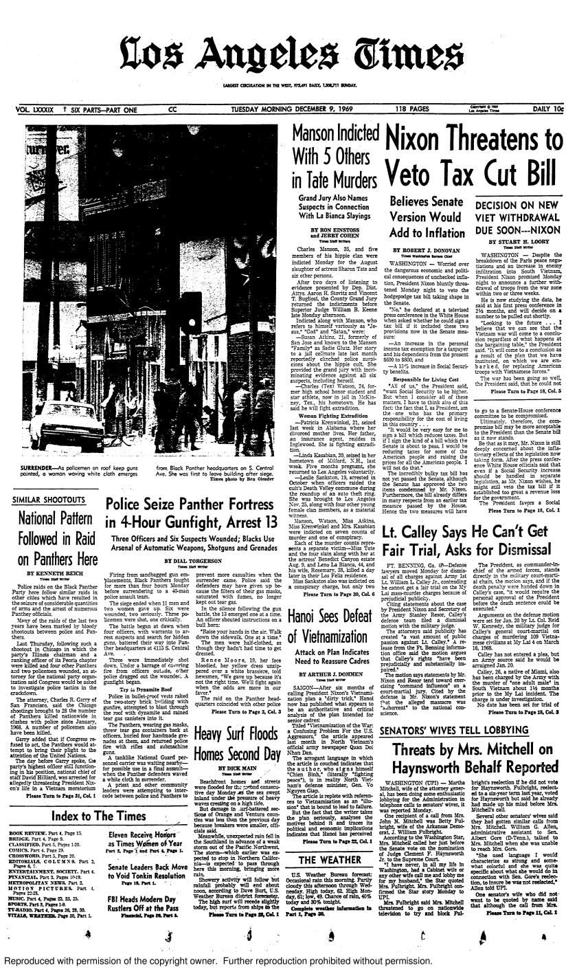 The front page of the Los Angeles Times on Dec. 9, 1969