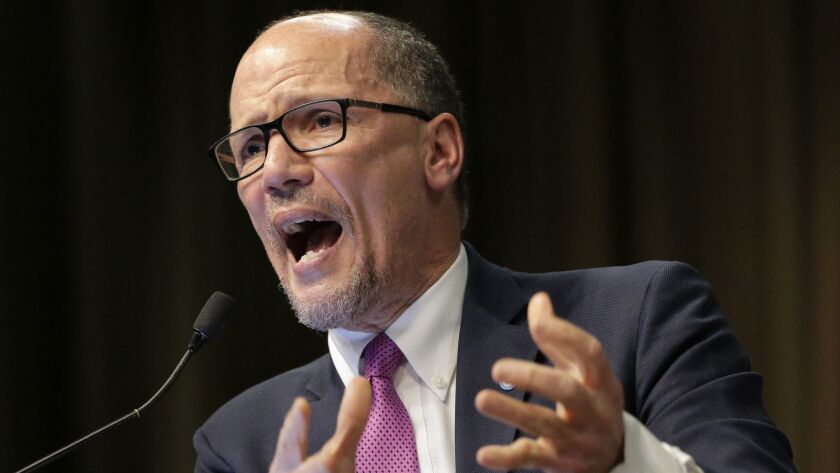 Tom Perez, chairman of the Democratic National Committee, speaks during the National Action Network Convention in New York in April.