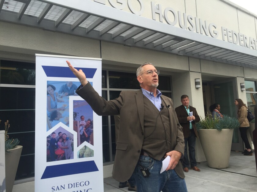 San Diego Housing Federation Executive Director Stephen Russell announcing a $900M housing bond campaign.
