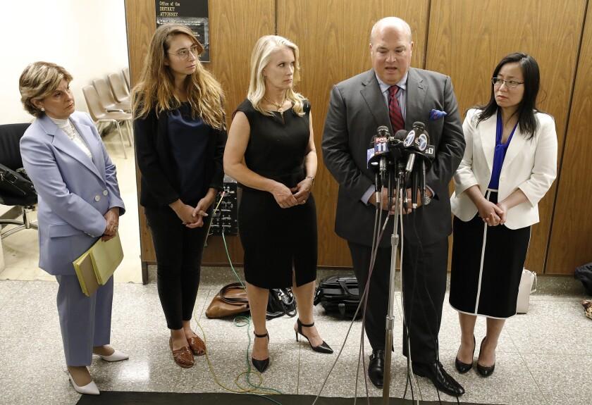 LOS ANGELES, CA - JULY 09, 2019 - Attorney Gloria Allred, Survivors Jessica Gonzales, Audry Nafzige