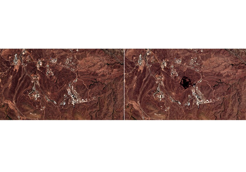 European Commission's Sentinel-2 satellite shows the site of an explosion, before, left, and after, right.
