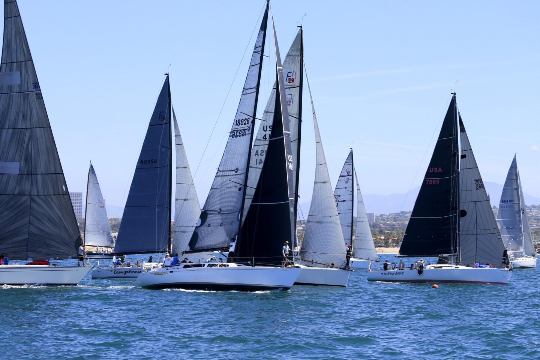 Sailors start the 69th annual Newport to Ensenada race in Newport Beach.