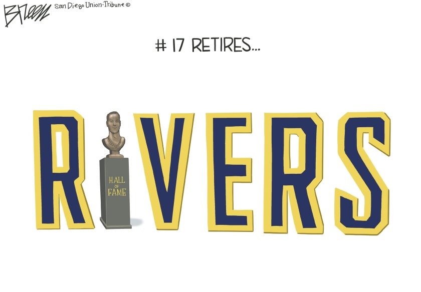 In this Breen cartoon captioned '#17 Retires', a Hall of Fame bust of Philip Rivers is incorporated into his last name