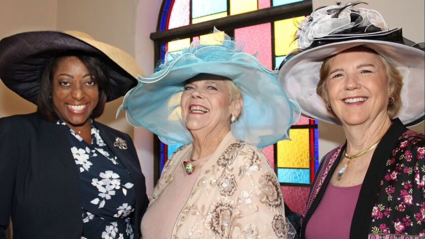 """""""Biggest Hat"""" prizes went to, from left, Lesley Irwin and Assistance League Glendale President Marci"""