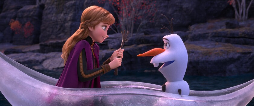 "Anna (Kristen Bell) and Olaf (Josh Gad) in ""Frozen 2."""