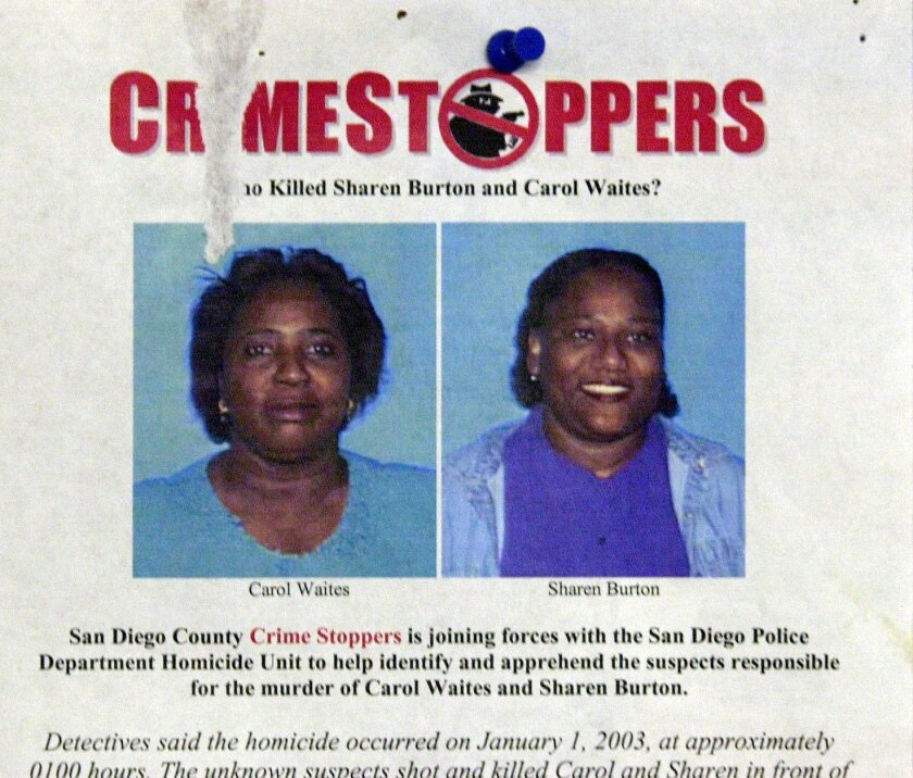 The Crime Stoppers flier that was posted throughout San Diego after the Jan. 1, 2003, killings of two women at Dr. J's Liquor Store in Lincoln Park.