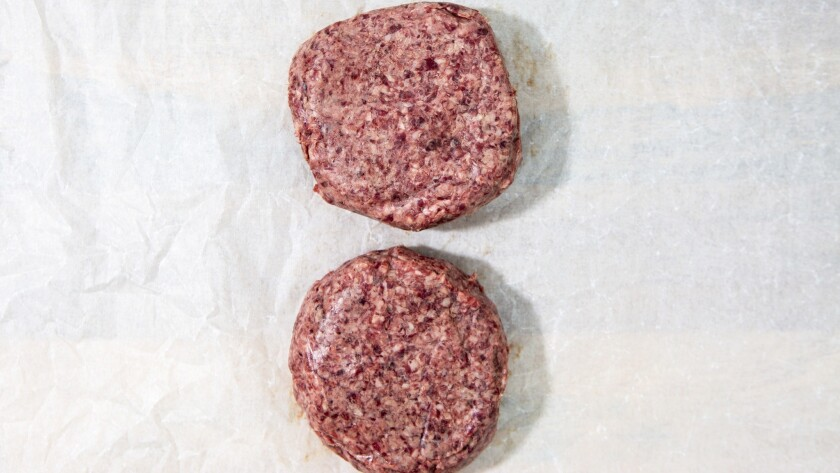 LOS ANGELES, CA--JUNE 13, 2019--Raw dry-aged burger , seen before grilling, photographed on a Los An