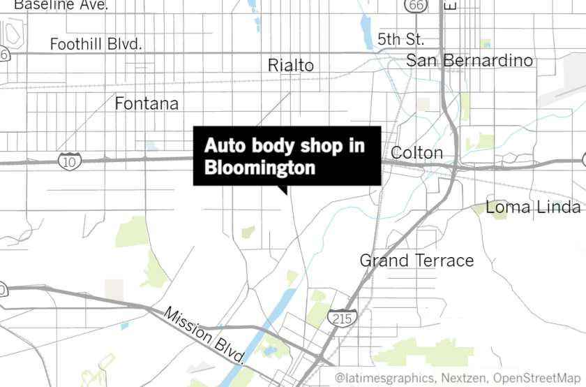 Map of an auto body shop at 154 W. Bryant St. in Bloomington