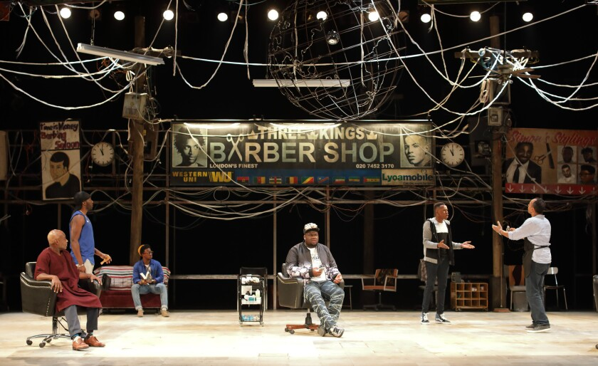 "WESTWOOD, CA -- OCTOBER 18, 2018: ""The Barber Shop Chronicles"" is playing at the Freud Playhouse at"