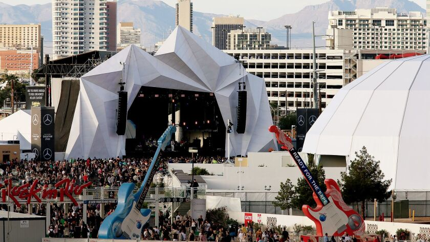 LAS VEGAS, NEV. - MAY 16, 2015. Music fans stream into the City of Rock for the last day of Rock in