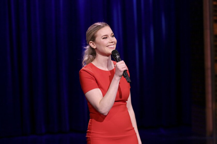 THE TONIGHT SHOW STARRING JIMMY FALLON -- Pictured: Comedian Kelsey Cook performs on March 8, 2018 -- (Photo by: Andrew Lipovsky/NBC)