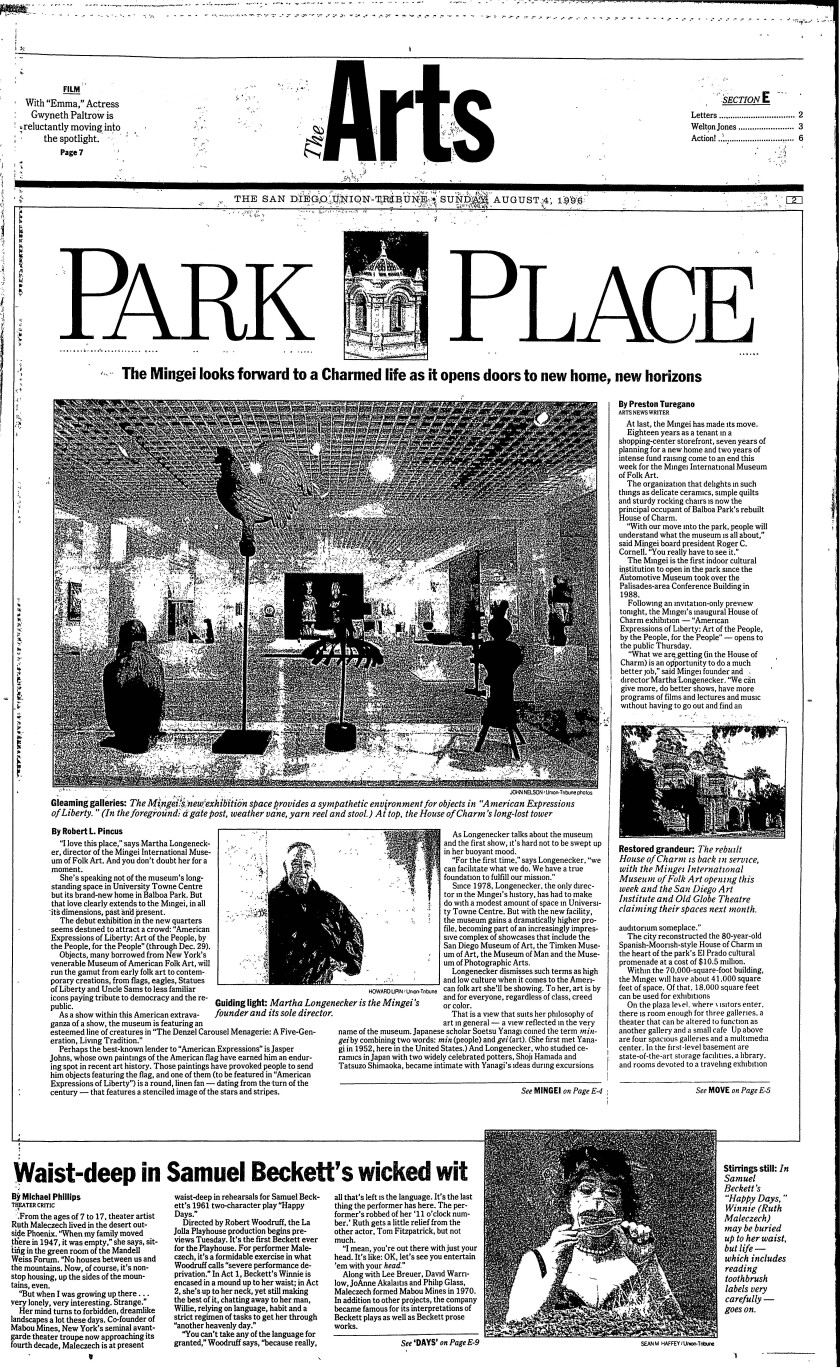 The front page of the Arts section from The San Diego Union-Tribune on Aug. 4, 1996
