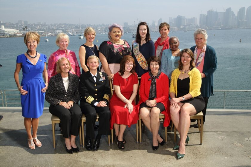 Girl Scouts San Diego's Cool Women of 2016 are: (back row, from left): Jo Dee C. Jacob, Martha Dennis, Darcy C. Bingham, Ashley Nell Tipton, Cool Girl Elizabeth Hosie, M.A. Beyster, Lelya Sampson, Betty Beyster; and (front row) Anne S. Fege, VADM Nora Tyson, USN, Debra L. Reed, Susan Shirk and Erica Ollmann Saphire. Not pictured: Debra Turner.