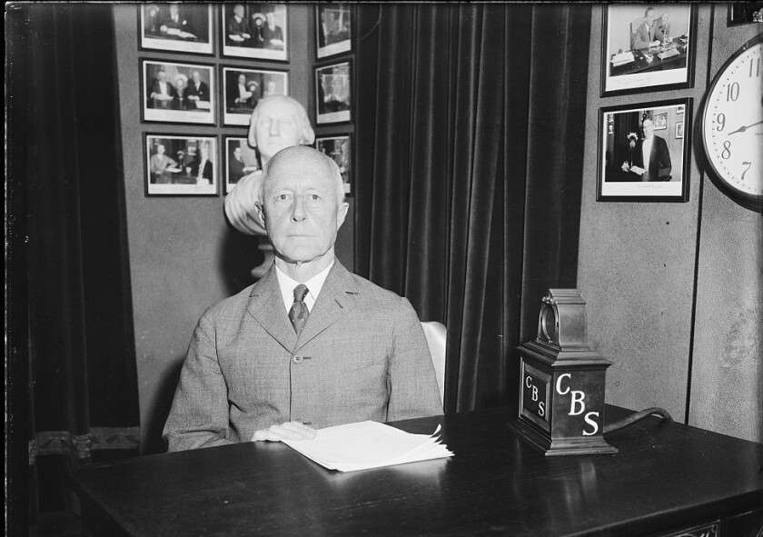 Charles Francis Adams at CBS microphone in 1931.