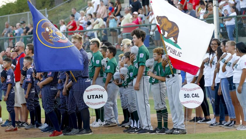 Chula Vista Park View Little League is shown taking part in the West Regional opening ceremonies on Sunday. Park View lost Wednesday night and was eliminated from the tournament.