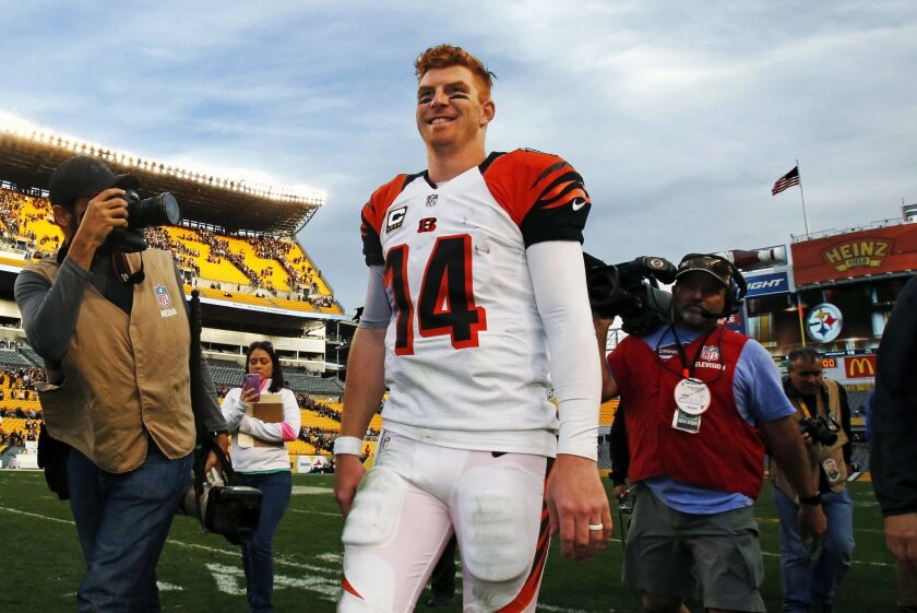 Cincinnati Bengals quarterback Andy Dalton (14) walks off the field after a 16-10 win over the Pittsburgh Steelers in an NFL football game in Pittsburgh, Sunday, Nov. 1, 2015. (AP Photo/Gene J. Puskar)