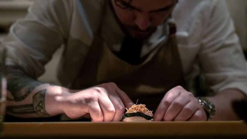 ENCINO, CA-May 1, 2019: Chef Phillip Franklin Lee prepare dishes from his omakase style tasting menu