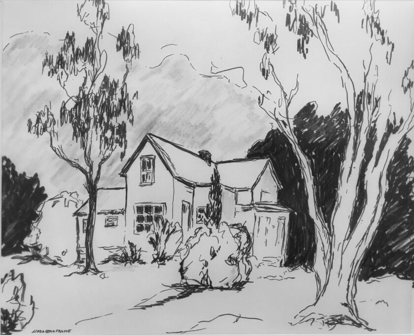 A pen-and-ink drawing by Linda Frame of the Plaisted House, which still stands in Old Poway.
